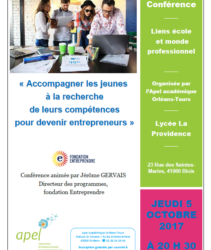 Conférence, jeudi 5 octobre, Lycée La Providence  : «accompagner les jeunes à la recherche de leur compétences pour devenir entrepreneurs.»